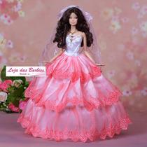 Vestido De Noiva Luxo P/ Boneca Barbie + Véu Luvas E Sapatos