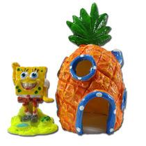 Enfeite Para Aquario Bob Esponja + Casa