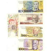 Lote 5 Cédulas Variadas E Diferentes Dinheiro Antigo Anos 90