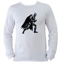 Camiseta Adulto Manga L. Batman Bat Man Coringa Joker E