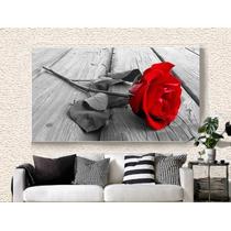 Quadro Decorativo 105x75 Rosa Vermelha Sala Jantar Quarto