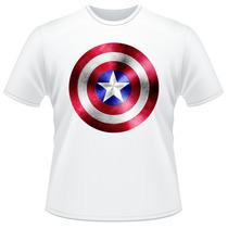 Camiseta Infantil Capitão América Escudo Super Herói Camisa