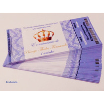 50 Convite Ingresso Princesa Ou Principe Coroa Aniversário