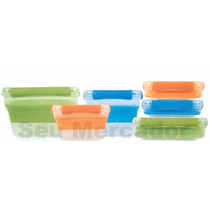 Kit 6 Porta Alimentos Expansível Coloridos Marmita Depósitos