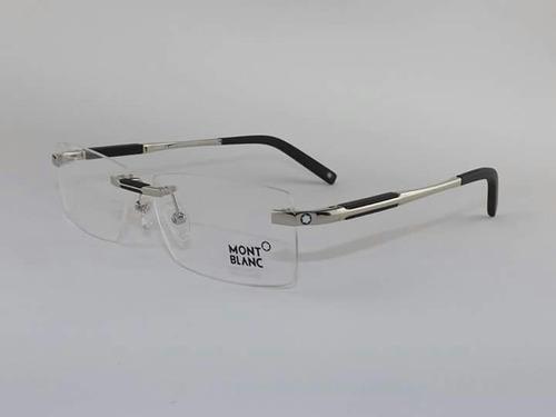 6e950904194be Armação Óculos De Grau Sem Aro Mont Blanc 0349 Prata R 219 lT8gW ...