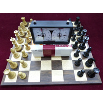Jogo De Xadrez Super Conjunto Tabuleiro Peças Relógio