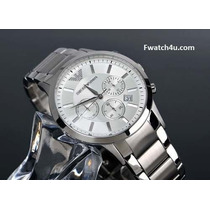 Relógio Emporio Armani Ar2458 Prata C/ Fundo Branco S/ Caixa