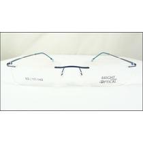 4de68a38a Armação Oculos Grau Azul De Feita De Titanium Sem Aro A526 à venda ...