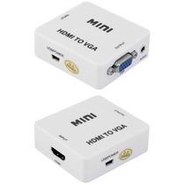 Adaptador Hdmi Vga P2 Audio Monitor Projetor Notebook Pc Dvd