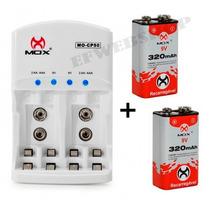 Kit6 Carregador Pilha Aaa Aa 9v + 2 Baterias Recarregável Nf