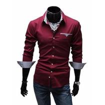 Camisa Social Slim Fit Manga Comprida Longa Masculina Luxo