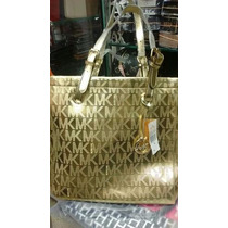 Bolsa Importada Dourada + Carteira Mk