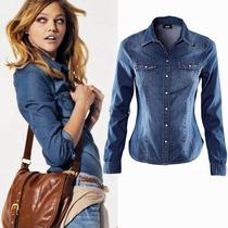 Camisa Social Feminina Jeans Pronta Entrega Melhor Preço