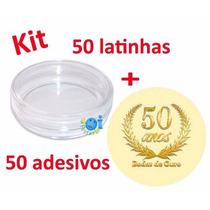 Kit Lembrancinha Latinha Acrílica Adesivo Bodas 50 Anos