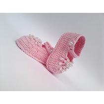 A291 Sapatinho De Croche Feminino Rosa De Menina Com Perolas