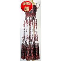 Vestido Longo Com Mangas Feminino Estampado Macaquinho