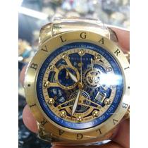 Relógio Bulgari Nuclear (dourada Com Fundo Azul).