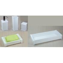 Kit Potes Para Banheiro Em Acrílico Branco Com Strass