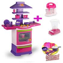 Cozinha Infantil Completa Fogão + Batedeira + Liquidificador