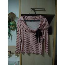 Blusa De Malha Com Mangas Compridas Rosa Com Poá