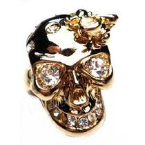 Lov-anel Caveira Strass Banhado A Ouro