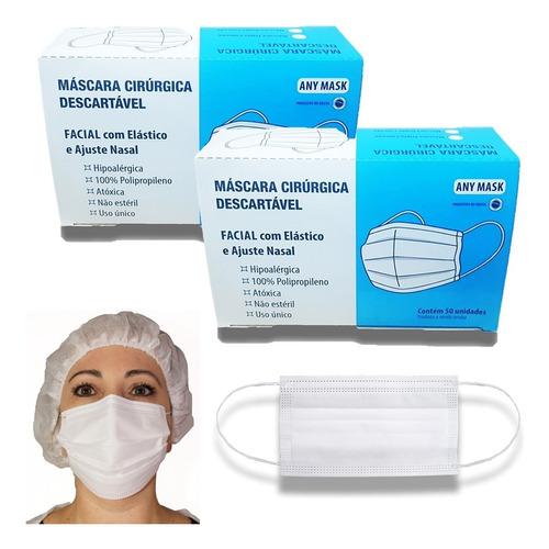 Máscara Descartável Proteção C/ Elástico Clipe Nasal  100 Un