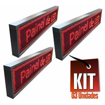 Kit 03 Unidades Letreiro Digital Painel De Leds 1 Metro Conf
