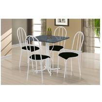 Conjunto De Mesa E Cadeira Fabone Branco / Preto 75x75 23227