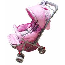 Carrinho De Bebê Tipo Berço Rosa Flor 3 Posições Reversível
