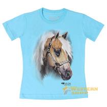 Camiseta Baby Look Feminina Azul Claro 100% Algodão - Abqm 1