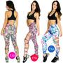 Calça Legging Estampada Com Rasgo Lateral Suplex Fitness