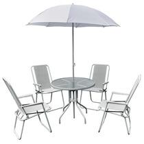 Conjunto Jardim Leblon Ombrelone Mesa Cadeiras Branco Belfix
