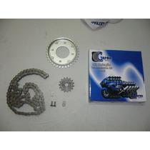 Kit Relação (transmissão) Honda Biz 100 E 125 Cc Aço 1045