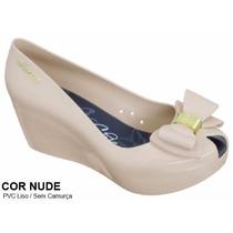 Sapato Peep Toe Sandália Anabela - Cor Nude - Promoção