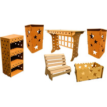 Kit Provençal Estrela Mesa+02 Cubo +banquinho+estante+caixa