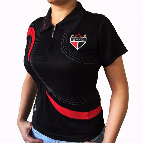 Camisa Polo Do São Paulo Baby Look Feminina Oficial 186b69740049f