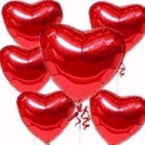 10 Balão Coração Vermelho 45cm Metalizado Bola Hélio Gás -sp