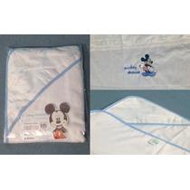 Kit Banho Bebê 2 Peças Linha Bordada Mickey Disney Toalha