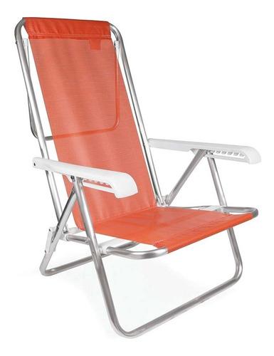 Cadeira Praia Piscina Reclinável Alumínio Coral 8 Posições