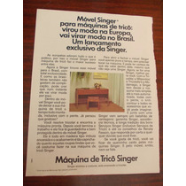 Propaganda Antiga - Móvel Singer. Para Máquinas De Tricô: Vi