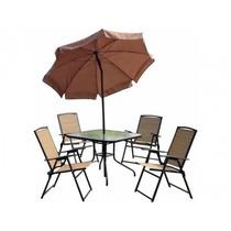 Conjunto Jardim Acapuco - Mesa C/guarda-sol + 4 Cadeiras