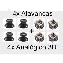 Kit 4 Analógico 3d + 4 Alavanca Xbox 360 Botão Tampa Marcha