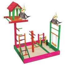 Poleiro Brinquedo Parque Para Calopsita Com Casa