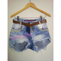 Short Jeans Feminino Destroyed Cintura Alta Enrugado Anita