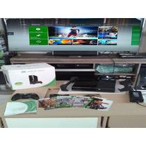 Xbox 360 S Slim Semi Novo Controle S/ Fio 4 Jogos Originais