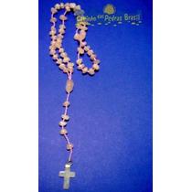 Terço Católico Em Pedras Naturais Quartzo Rosa - 50cm