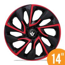 Calota Esportiva 14 Ds4 Vermelha Renault Clio Sandero Logan