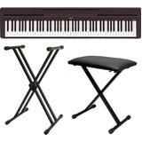 Piano Digital Yamaha P45 Preto Com Fonte + Banco + Estante