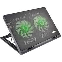 Cooler Para Notebook Warrior Power Gamer Led Verde Luminoso