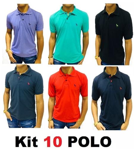 Kit C  10 Camisa Masculina Gola Polo Algodão Piquet Ofertas 92ec9fddcfd77